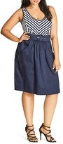 City Chic Ahoy Sailor Belted Dress