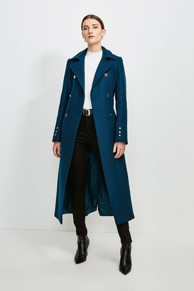 Karen Millen Military Button Belted Maxi Coat
