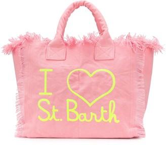 MC2 Saint Barth Embroidered-Logo Fringed Tote Bag