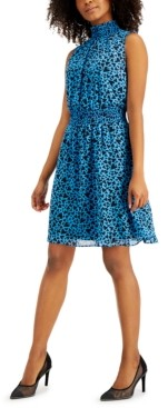 Bar III Heart-Print Smocked-Waist Dress, Created for Macy's
