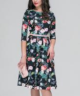 JET Black & Green Floral Belted A-Line Dress