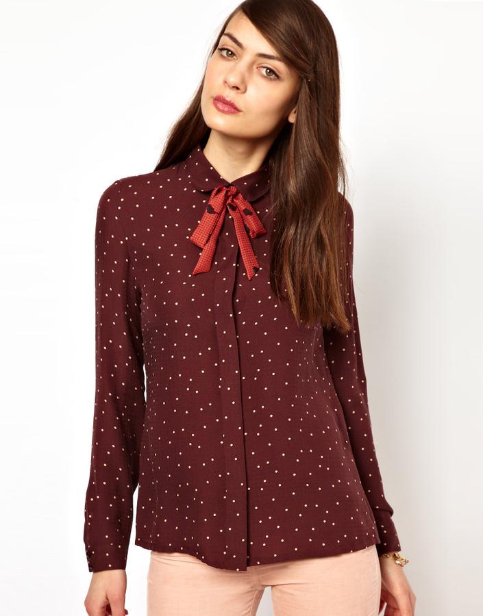 Sessun Silk Polka Dot Blouse with Bird Print Tie