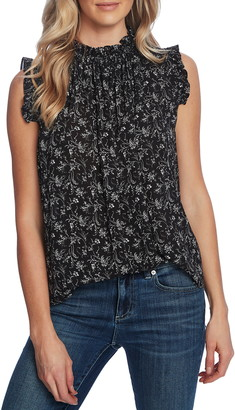 CeCe Floral High Neck Ruffle Sleeveless Blouse
