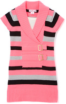 Pink Angel Neon Pink Stripe Double-Buckle Sweater Dress - Girls