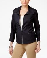 JM Collection Petite Denim Zip-Up Blazer, Created for Macy's