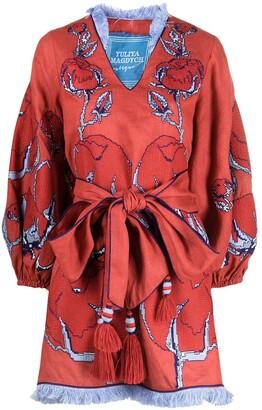 Yuliya Magdych Rose Embroidered Tie-Waist Dress