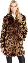 GUESS Women's Long Sleeve Abigal Leopard Faux Fur Coat
