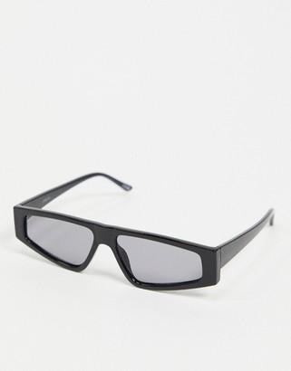 ASOS DESIGN flat top visor sunglasses in black