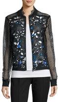 Elie Tahari Brandy Lace-Sleeve Floral-Cutout Moto Jacket, Bluette