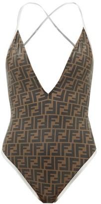 Fendi V-neck Ff-logo Swimsuit - Womens - Brown Print