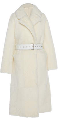 Common Leisure Love Belted Shearling Coat