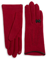 Portolano Leather Bow-Accented Wool- and Cashmere-Blend Touch Gloves