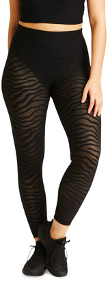 Adam Selman Sport Animal Stripe French-Cut Mesh Leggings