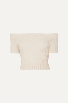 Alexander McQueen Off-the-shoulder Cable-knit Wool-blend Top - Ivory