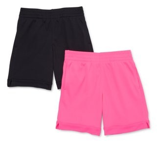 Athletic Works Girls Active Mesh Soccer Shorts, 2-Pack, Sizes 4-18 & Plus