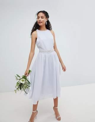TFNC Embellished Midi Bridesmaid Dress with Full skirt-Blue
