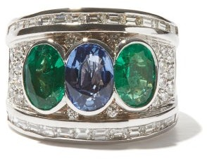 Shay Emerald, Sapphire & 18kt White-gold Ring - Multi