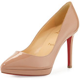 Christian Louboutin Pigalle Plato Patent Red Sole Pump, Nude
