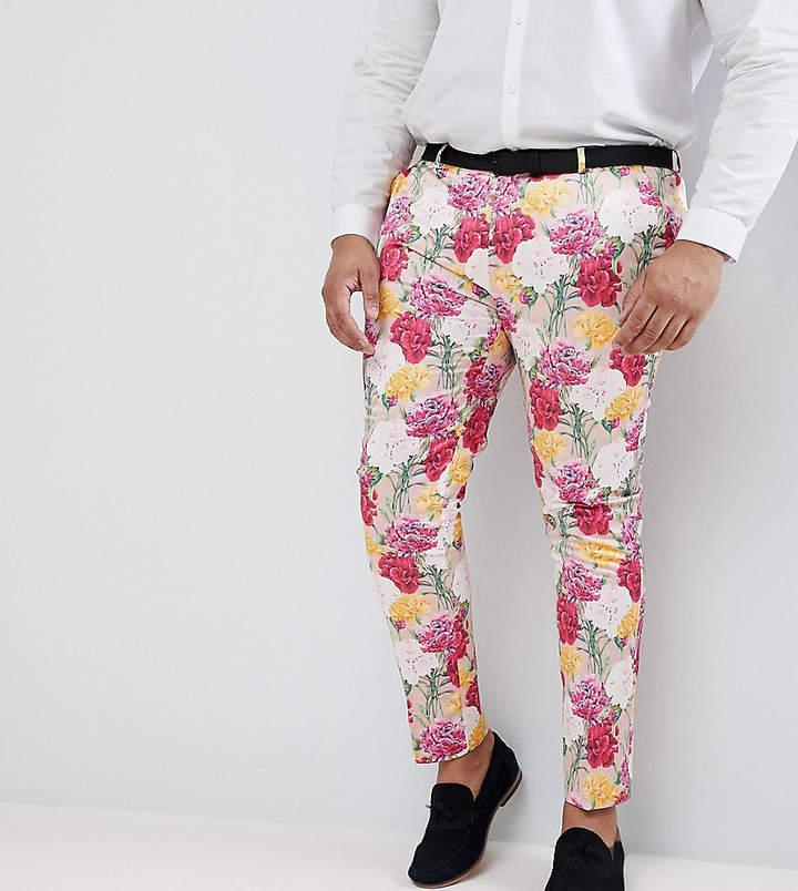 Asos Design PLUS Wedding Skinny Crop Smart Pants In Pink Floral Print