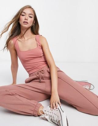 ASOS DESIGN mix & match square neck vest bodysuit co-ord with seam detail in rose