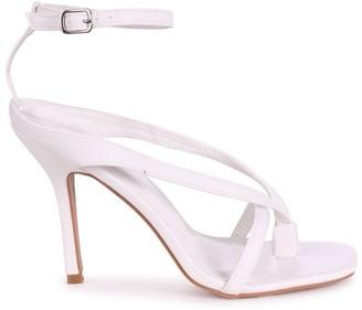 Linzi IMPULSE - White Nappa Toe Post Strappy Stiletto Heel With Square Toe