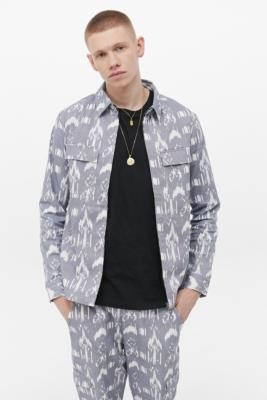 NATIVE YOUTH Blue Geo Print Jacket - Blue M at Urban Outfitters