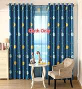 WPKIRA Blue Planet Pattern Printed Curtains Floating Curtains Custom Shade Cloth Blackout Curtains Room Darkening Thermal Insulated Grommets Curtains for Kids Bedroom ,1 Panel W75 x L96 inch