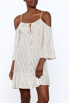 En Creme Print Cold Shoulder Dress