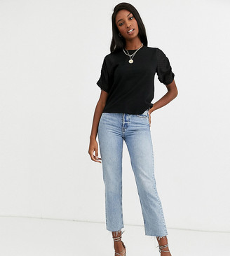 Asos Tall ASOS DESIGN Tall t-shirt with dobby ruched sleeve