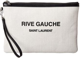 Saint Laurent Rive Gauche Canvas Zippered Pouch