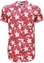 Soul Star Tiki Mens All Floral Print Short Sleeved Summer Shirt - Large
