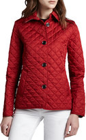 Burberry Copford Quilted Button Jacket, Red