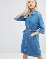 MiH Jeans Lola Denim Button Through Dress With Belt