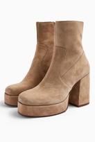 Topshop Womens Hogan Leather Sand Platform Boots - Sand