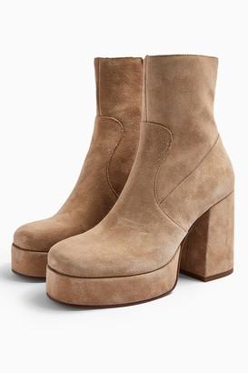 Topshop HOGAN Leather Sand Platform Boots