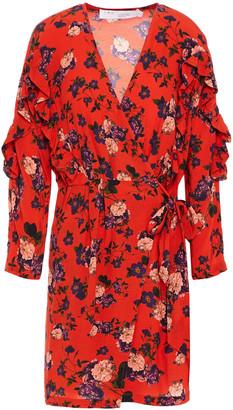 IRO Ruffled Floral-print Crepe Mini Wrap Dress