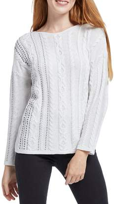 Nic+Zoe Cable Stud Cotton-Blend Sweater