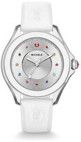 Michele Cape Topaz Watch with Silicone Strap, White