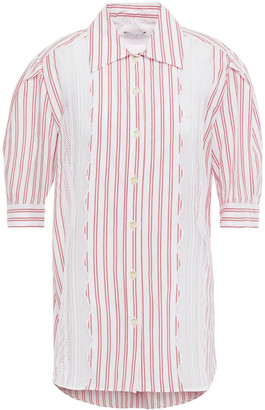 Sandro Alexia Crochet-trimmed Striped Cotton-poplin Shirt