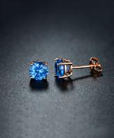 Sevil 925 Women's Earrings - London Blue Topaz & 18k Rose Gold-Plated Stud Earrings