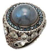 Stephen Dweck Cyprus Lemon Quartz, Blue Topaz, Labradorite & Sterling Silver Ring