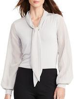 Lauren Ralph Lauren Jersey Georgette Necktie Shirt