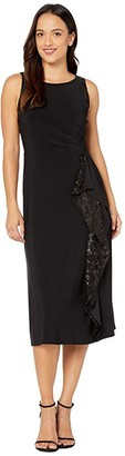 Lauren Ralph Lauren Petite Lace-Trim Jersey Dress (Black) Women's Dress