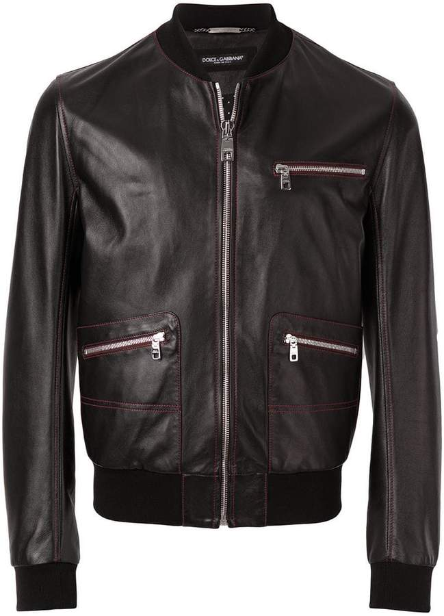 Dolce & Gabbana contrast stitched leather bomber jacket