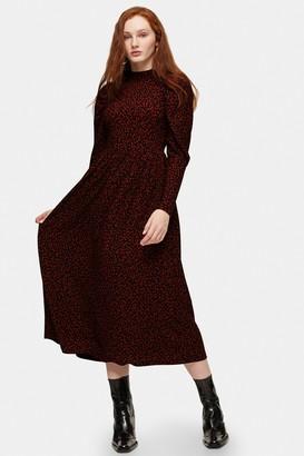 Topshop Animal Print Textured Midi Dress