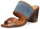 Frye Ashley Suede & Leather Mule Sandal, Blue