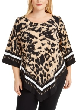 Alfani Plus Size Animal-Print Top, Created for Macy's