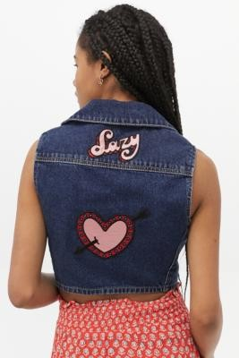 Lazy Oaf Rodeo Romance Button-Through Vest - Blue UK 6 at Urban Outfitters