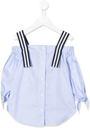 Lapin House Striped Cold-Shoulder Blouse