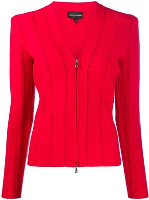 Emporio Armani Ribbed Fitted Jacket